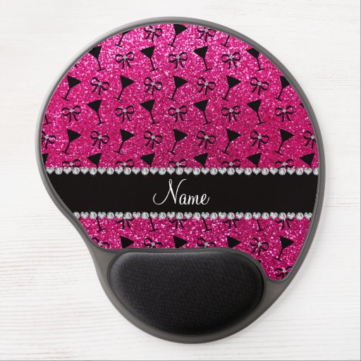 name neon hot pink glitter cocktail glass bow gel mouse mat