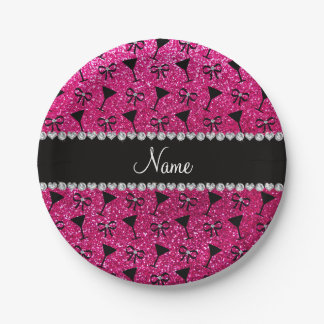 name neon hot pink glitter cocktail glass bow paper plate