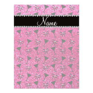 """Name neon hot pink glitter cocktail glass bows 8.5"""" x 11"""" flyer"""