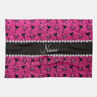 Name neon hot pink glitter cocktail glass bows hand towels