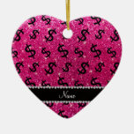 Name neon hot pink glitter dollar signs Double-Sided heart ceramic christmas ornament