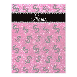 """Name neon hot pink glitter dollar signs 8.5"""" x 11"""" flyer"""