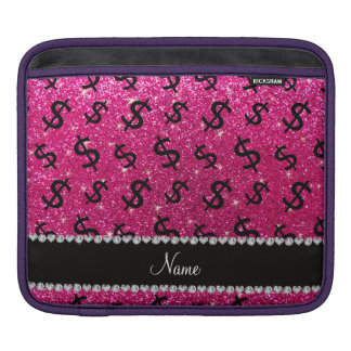 Name neon hot pink glitter dollar signs sleeve for iPads