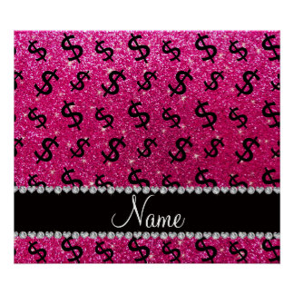 Name neon hot pink glitter dollar signs poster