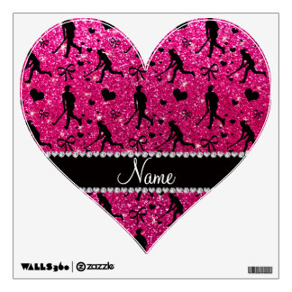 Name neon hot pink glitter field hockey hearts bow room stickers