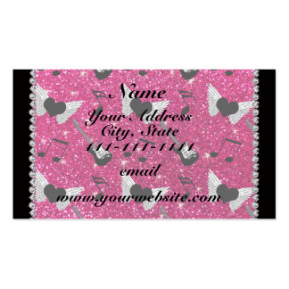 Name neon hot pink glitter guitars heart wings Double-Sided standard business cards (Pack of 100)