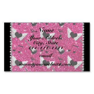 Name neon hot pink glitter guitars heart wings magnetic business cards (Pack of 25)