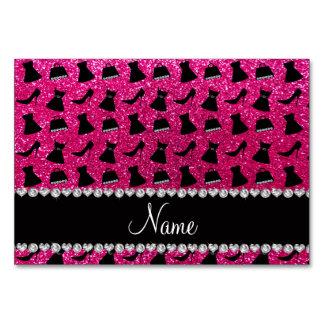 Name neon hot pink glitter high heels dress purses card