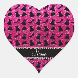 Name neon hot pink glitter high heels dress purses heart sticker