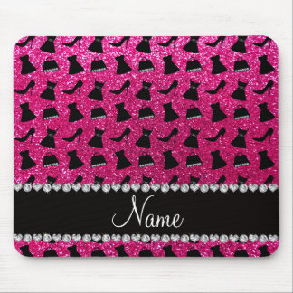 Name neon hot pink glitter high heels dress purses mouse pad