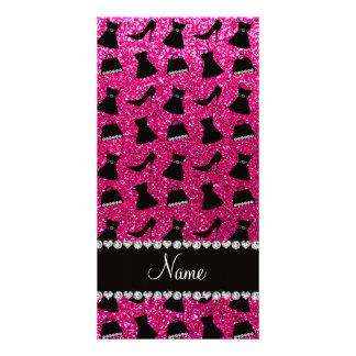 Name neon hot pink glitter high heels dress purses photo card