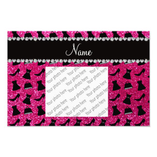 Name neon hot pink glitter high heels dress purses photo print