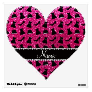Name neon hot pink glitter high heels dress purses room stickers