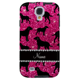 Name neon hot pink glitter labrador retrievers galaxy s4 case