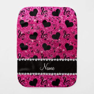 Name neon hot pink glitter music notes hearts baby burp cloth