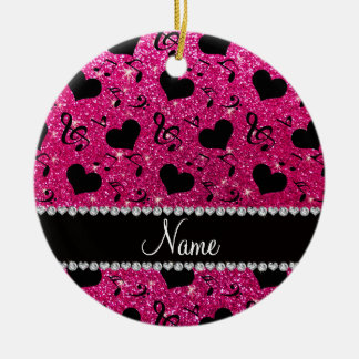 Name neon hot pink glitter music notes hearts ceramic ornament