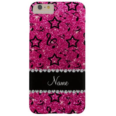 Name neon hot pink glitter music notes stars barely there iPhone 6 plus case