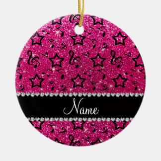 Name neon hot pink glitter music notes stars ceramic ornament