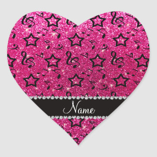 Name neon hot pink glitter music notes stars heart sticker