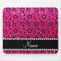 Name neon hot pink glitter music notes stars mouse pad