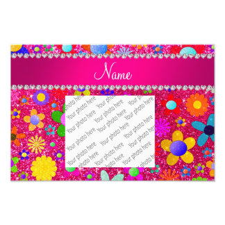 name neon hot pink glitter retro flowers photo print