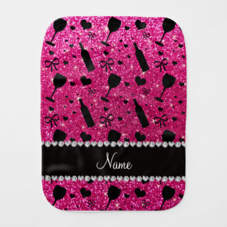 name neon hot pink glitter wine glass bottle burp cloth