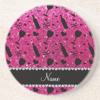 name neon hot pink glitter wine glass bottle coaster