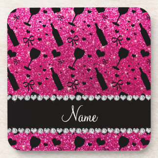 name neon hot pink glitter wine glass bottle drink coasters