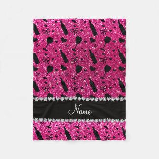 name neon hot pink glitter wine glass bottle fleece blanket