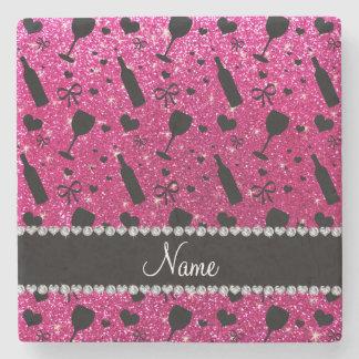 name neon hot pink glitter wine glass bottle stone beverage coaster