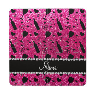 name neon hot pink glitter wine glass bottle puzzle coaster