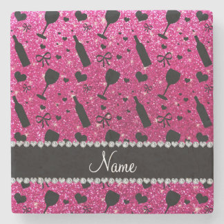 name neon hot pink glitter wine glass bottle stone coaster