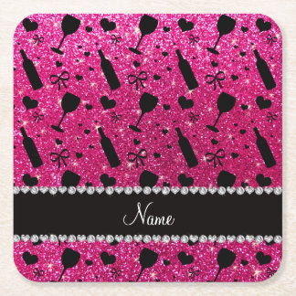 name neon hot pink glitter wine glass bottle square paper coaster
