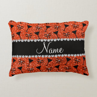 Name neon orange glitter cocktail glass bow accent pillow