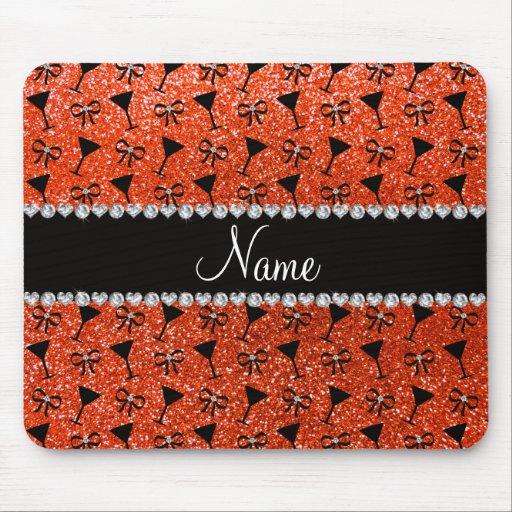 name neon orange glitter cocktail glass bow mousepad