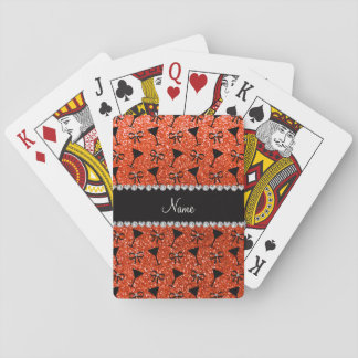 name neon orange glitter cocktail glass bow poker cards