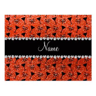 name neon orange glitter cocktail glass bow postcard
