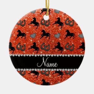 Name neon orange glitter horses hearts horseshoe ceramic ornament