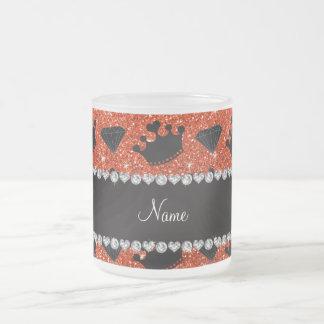 Name neon orange glitter princess crowns diamonds mug