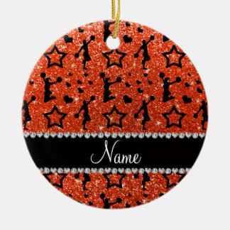 Name neon orange glitter stars cheerleading ceramic ornament