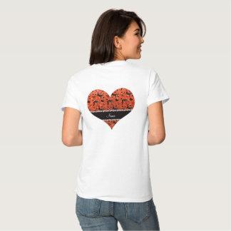 Name neon orange glitter wrestling hearts bows tee shirt
