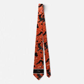 Name neon orange glitter wrestling hearts bows tie