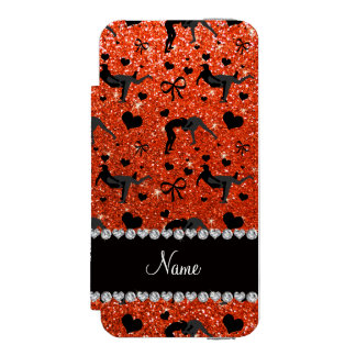 Name neon orange glitter wrestling hearts bows wallet case for iPhone SE/5/5s