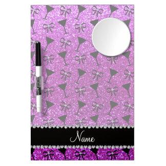 name neon purple glitter cocktail glass bow Dry-Erase board