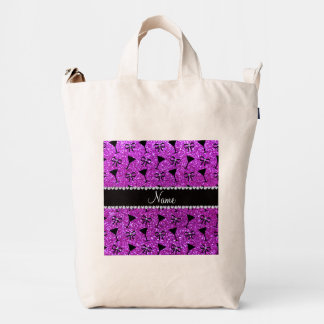 Name neon purple glitter cocktail glass bow duck canvas bag