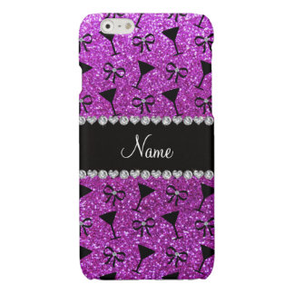 Name neon purple glitter cocktail glass bow glossy iPhone 6 case