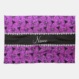 name neon purple glitter cocktail glass bow hand towel