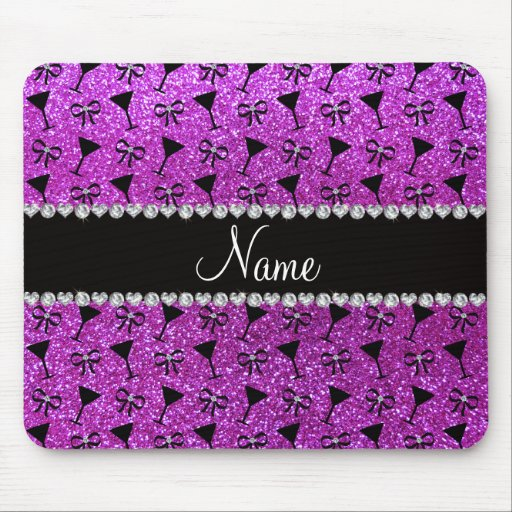 name neon purple glitter cocktail glass bow mousepad