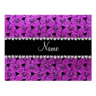 name neon purple glitter cocktail glass bow postcard