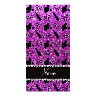 name neon purple glitter perfume lipstick bows photo card